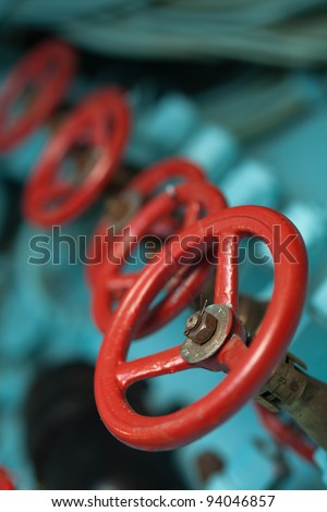 Main air engine on a submarine. It is used for transfer high-pressure air to the general ballast tank when the submarine is coming to the surface - stock photo