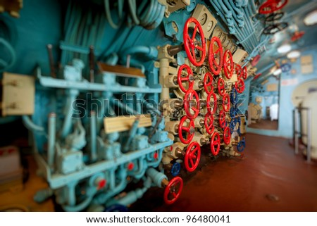 Main air engine on a submarine. Manipulators to control the valves and ventilation control Kingston