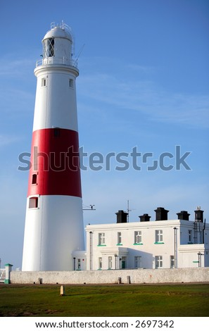 Main and active red and white lighthouse on Portland Island near Weymouth in Dorset in the United Kingdom