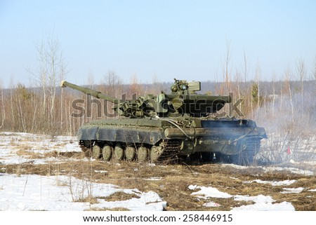 Main battle tank having a training driving - stock photo