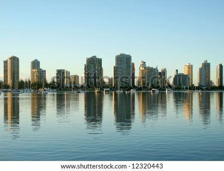 Main Beach Gold Coast Australia at sunrise seen North from Southport. - stock photo