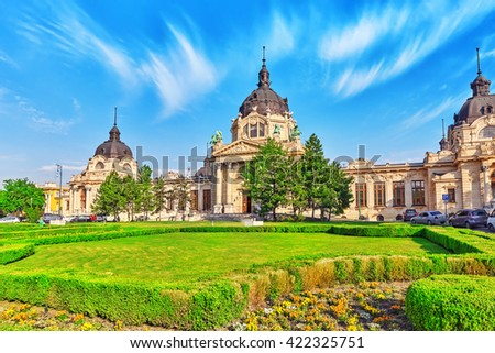 Main building of Szechenyi Baths, Hungarian thermal bath complex and spa treatments. - stock photo