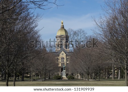 main building of university of Notre Dame - stock photo