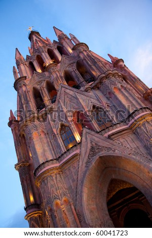 Main Church in historic town San Miguel de Allende, Guanajuato, Mexico - stock photo