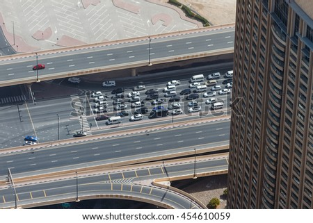 Main City Road with Cars in Dubai. Viewed from Burj Khalifa