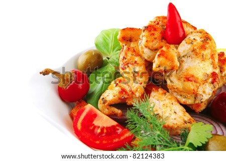 main course of chicken brisket served with vegetables - stock photo
