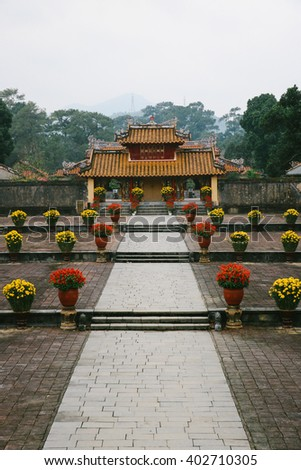 Main court leading to the Gate of the Tomb of Minh Mang Emperor in Hue (Vietnam) - stock photo