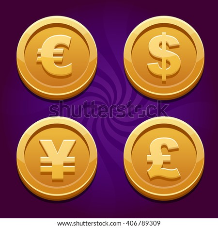 Main currencies symbols represented as shiny gold coins. Dollar, Euro, Pound and Yen - stock photo