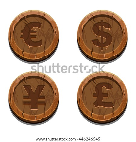 Main currencies symbols represented as wooden coins. Dollar, Euro, Pound and Yen, JPG copy - stock photo