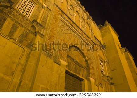 Main door of the cathedral-mosque of Cordoba. Night Scene. Andalusia, Spain