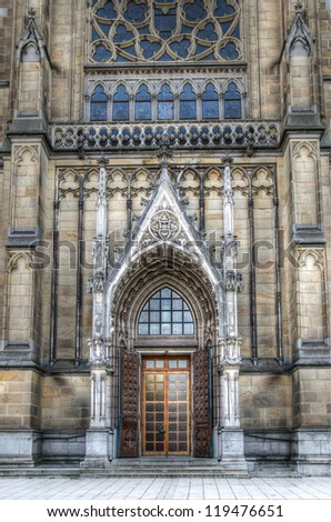 Main door of the neo-gothic New Cathedral (Neuer Dom) in Linz, Upper Austria - stock photo