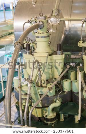 main engine of a big ship - stock photo