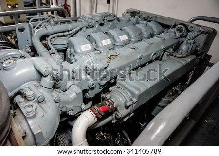 main engine of the ship - stock photo
