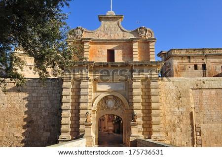 main entrance gate of Mdina,Malta�´s ancient capital - stock photo