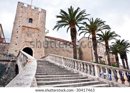 Main entrance in old medieval town Korcula. Croatia, Dalmatia region, Europe. - stock photo