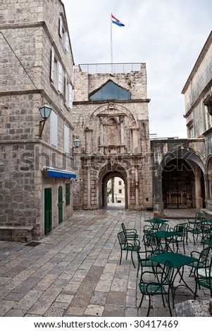 Main entrance in old medieval town Korcula. Croatia, Dalmatia region, Europe. - stock photo