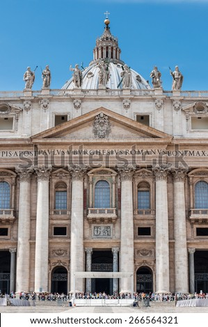 Main entrance in the Saint Peter's Basilica (Basilica Papale di San Pietro in Vaticano) in Vatican City, Rome, Italy - stock photo