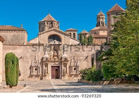 Main entrance, Monastery of Santa Maria de Poblet, Tarragona Province, Spain - stock photo