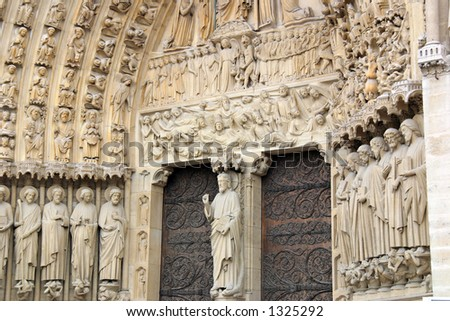 Main Entrance of Notre Dame de Paris - Portal of the Last Judgement - stock photo