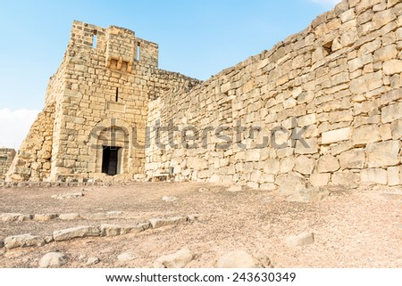 Main entrance of Qasr Azraq, Qasr Azraq is a large fortress located in present-day eastern Jordan. It is one of the desert castles, located on the outskirts of present-day Azraq, Jordan.