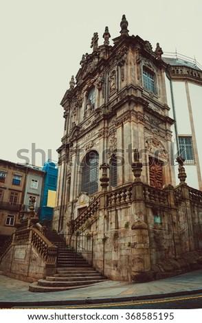 Main entrance of the Clerigos church in Porto. - stock photo