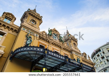 Main entrance of the Monte Carlo Casino. Monte Carlo Casino  includes a casino, the Grand Theatre de Monte Carlo. It's the main sight of Monte Carlo - stock photo