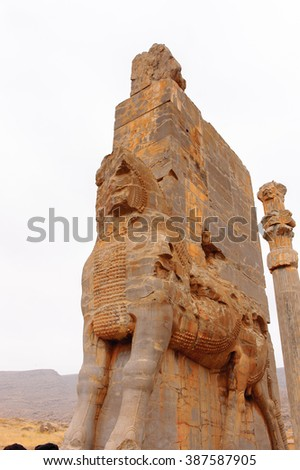 Main entrance statue into the ancient city of Persepolis, Iran. UNESCO World heritage site - stock photo