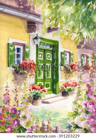 Main entrance to a house with green door and flowers.Picture created with watercolors.