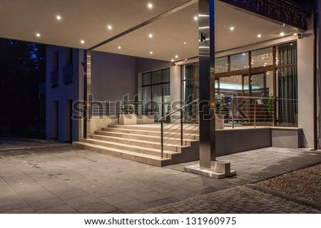 main entrance to modern hotel - stock photo