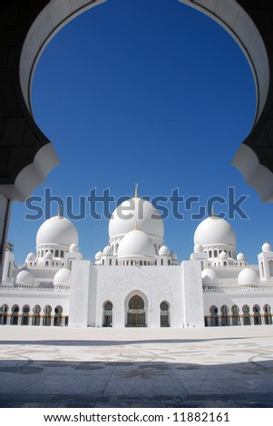 main entrance to sheikh zayed mosque, abu dhabi, uae - stock photo