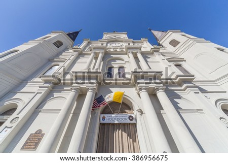 Main entrance to St. Louis Cathedral in French Quarter, New Orleans, Louisiana - stock photo