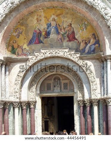 main entrance to st mark's basilica - stock photo