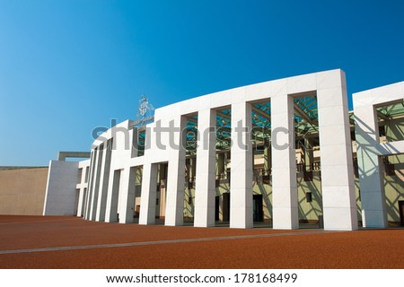 Main entrance to the Parliament of Australia, Canberra - stock photo
