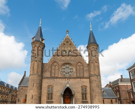Main facade of the large Gothic Hall of Knights (Ridderzaal) in The Hague, Netherlands - stock photo