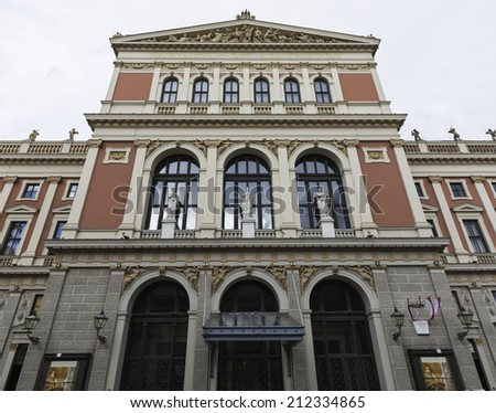 Main facade of the Wiener Musikverein, a famous concert hall home to the Vienna Philharmonic Orchestra. Built in 1870, it is considered one of the finest concert halls in the world. - stock photo