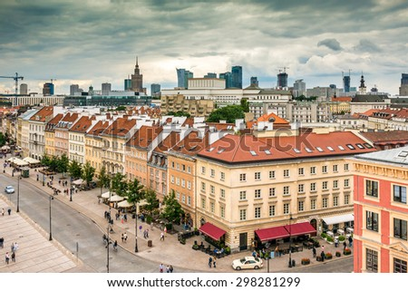 Main fashionable street of Warsaw. Poland. View from a viewing platform - stock photo