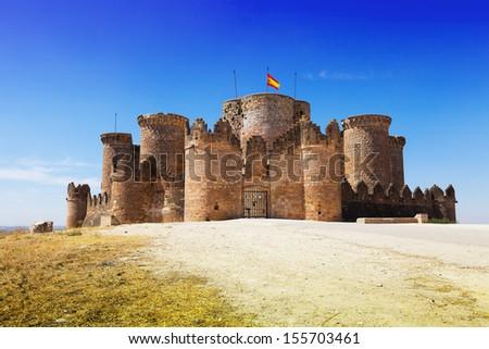 Main gate in Gothic Mudejar castle at Belmonte. Cuenca, Spain - stock photo