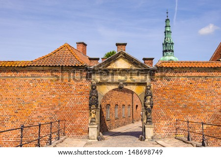 Main gate into the Frederiksborg Palace or Castle, Denmark - stock photo