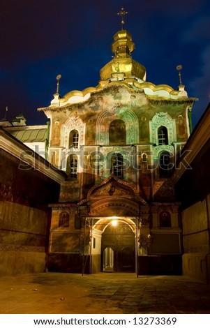 Main gate of the Kiev Pechersk Lavra in Kiev, Ukraine - stock photo