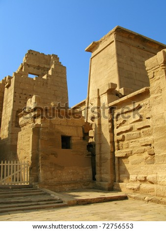 Main gate of the temple of Medinet Habu (dedicated to Ramesses III), on the West bank of the Nile at Luxor, Egypt - stock photo