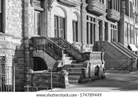 Main ladder of New york Harlem buildings - stock photo