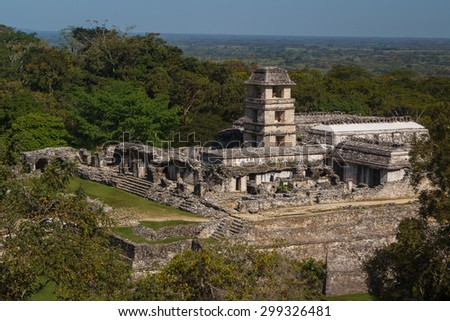 Main palace in the ruins of the ancient Mayan city of Palenque, Mexico - stock photo