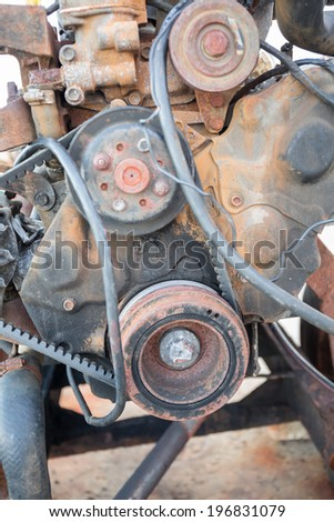 Main part of rusty engine  - stock photo