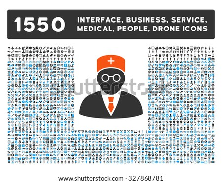 Main Physician and other web interface, business tools, people poses, medical service glyph icons. Style is flat symbols, bicolored, rounded angles, white background. - stock photo