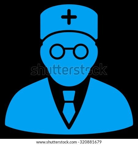 Main Physician glyph icon. Style is flat symbol, blue color, rounded angles, black background. - stock photo