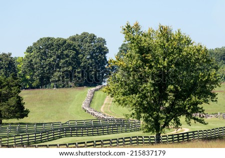 Main road through village of Appomattox site of the surrender of Southern Army in Civil War April 9, 1865 - stock photo