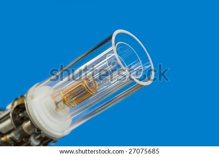 main sensor of spectrometer assembling over blue background - stock photo