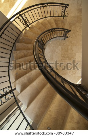 Main spiral staircase in a modern house - stock photo