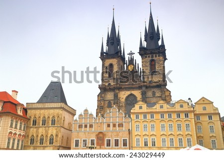 Main Square and Gothic building of the Church of Our Lady before Tyn, Prague Old Town, Czech Republic - stock photo