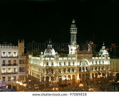 Main Square at night, Valencia, Spain - stock photo